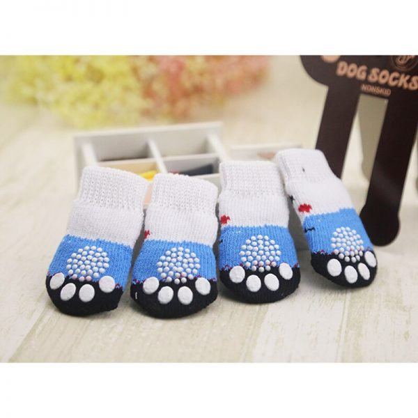 lovely pet Fashion Pets Dogs Socks 4Pcs Cute Puppy Dogs Pet Knits Socks Anti Slip Skid Bottom 4