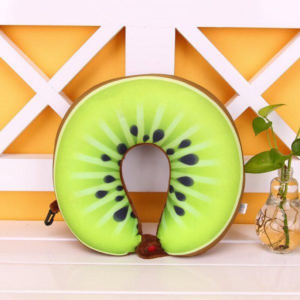 1pcs 6 Colors Fruit U Shaped Pillow Protect the Neck Travel Watermelon Lemon Kiwi Orange Pillows Cushion 5