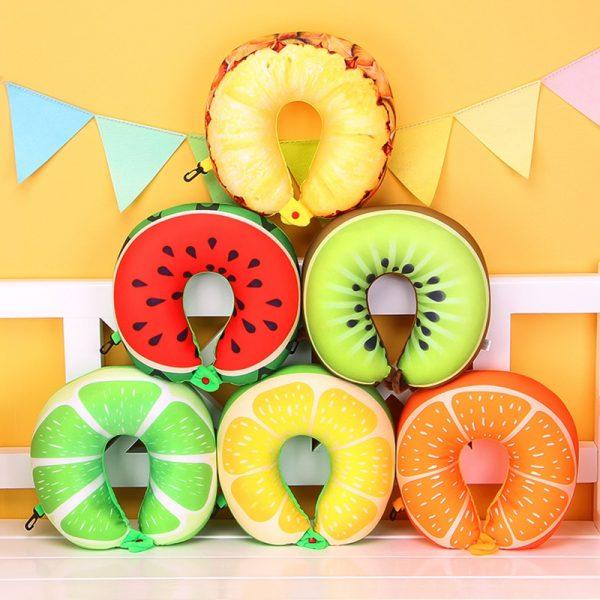 1pcs 6 Colors Fruit U Shaped Pillow Protect the Neck Travel Watermelon Lemon Kiwi Orange Pillows Cushion