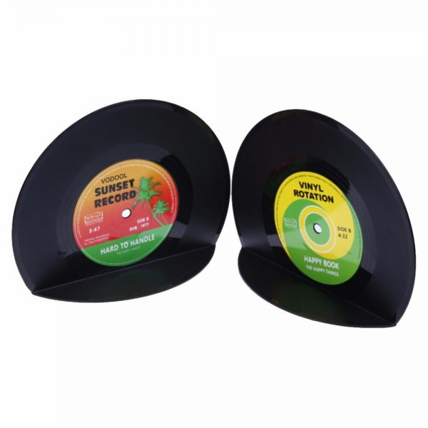 VODOOL 1Set/2Pcs New Arrivals Retro Office Accessories Record Bookends Vinyl Bookends Desk Organizer Desktop School Book Holder  1