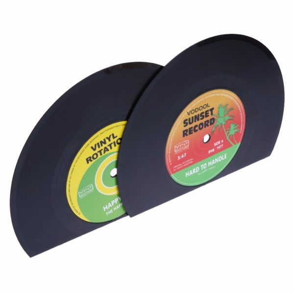 VODOOL 1Set/2Pcs New Arrivals Retro Office Accessories Record Bookends Vinyl Bookends Desk Organizer Desktop School Book Holder  3