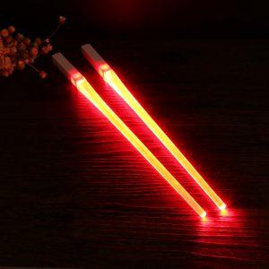 1 Pair of LED Lightsaber Chopsticks Light Up Durable Lightweight Portable BPA Free and Food Safe Tableware