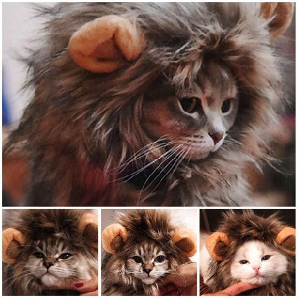 Funny Cute Pet Cat Costume Lion Mane Wig Cap Hat for Cat Dog Halloween Christmas Clothes Fancy Dress with Ears Pet Clothes   3