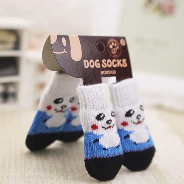 lovely pet Fashion Pets Dogs Socks 4Pcs Cute Puppy Dogs Pet Knits Socks Anti Slip Skid Bottom 2