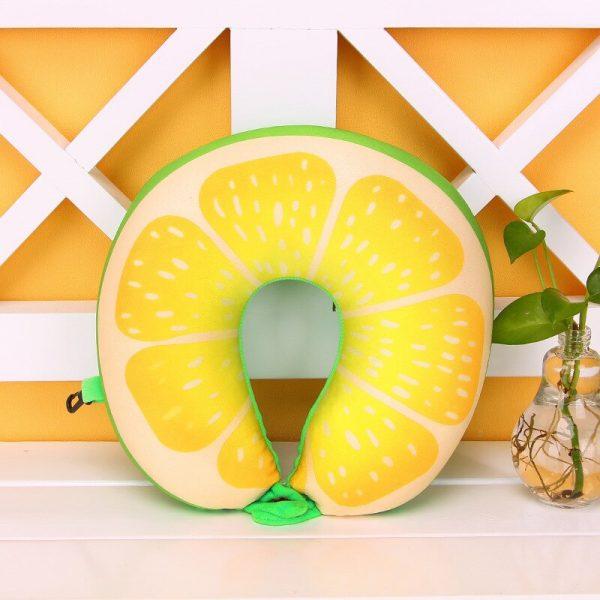 1pcs 6 Colors Fruit U Shaped Pillow Protect the Neck Travel Watermelon Lemon Kiwi Orange Pillows Cushion 4