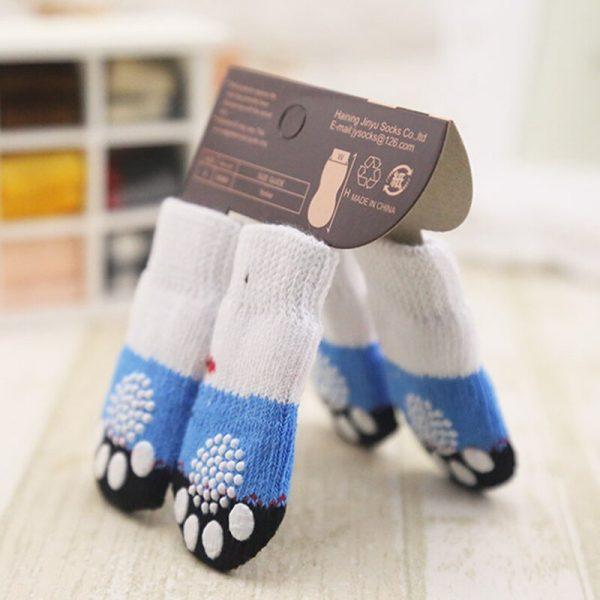 lovely pet Fashion Pets Dogs Socks 4Pcs Cute Puppy Dogs Pet Knits Socks Anti Slip Skid Bottom 3