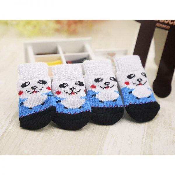 lovely pet Fashion Pets Dogs Socks 4Pcs Cute Puppy Dogs Pet Knits Socks Anti Slip Skid Bottom 5