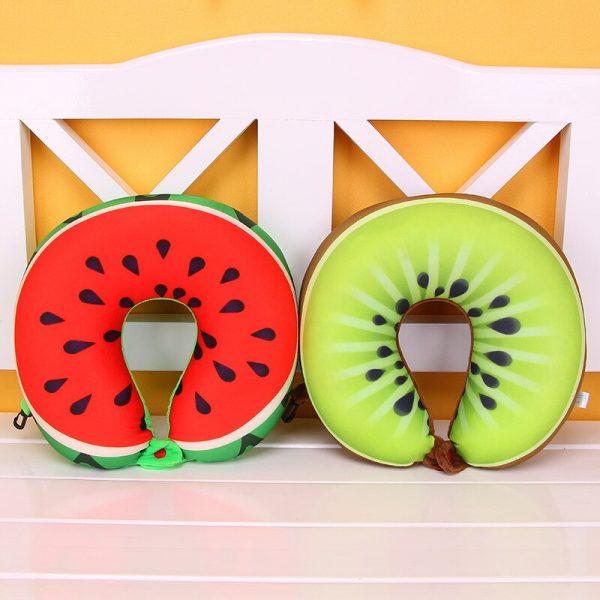 1pcs 6 Colors Fruit U Shaped Pillow Protect the Neck Travel Watermelon Lemon Kiwi Orange Pillows Cushion 2