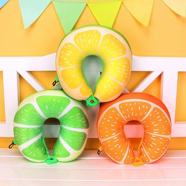 1pcs 6 Colors Fruit U Shaped Pillow Protect the Neck Travel Watermelon Lemon Kiwi Orange Pillows Cushion 1