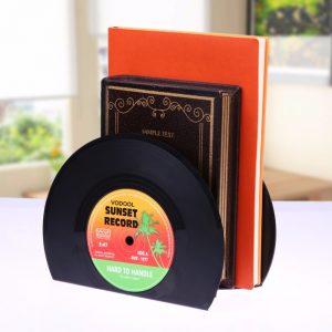 VODOOL 1Set/2Pcs New Arrivals Retro Office Accessories Record Bookends Vinyl Bookends Desk Organizer Desktop School Book Holder