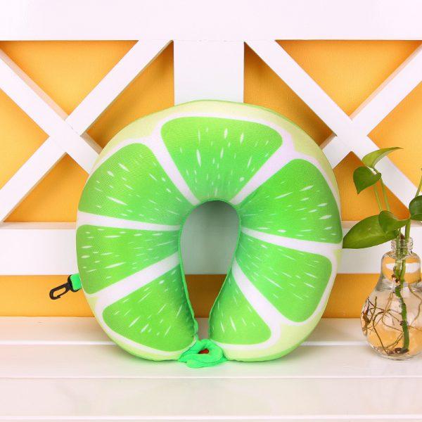 1pcs 6 Colors Fruit U Shaped Pillow Protect the Neck Travel Watermelon Lemon Kiwi Orange Pillows Cushion 3